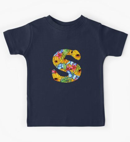 """Floral Letters """"S"""" Kids Tee"""