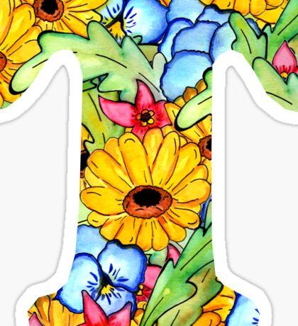 "Floral Letters ""T"" Sticker"