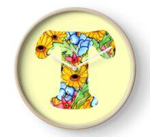 """Floral Letters """"T"""" Clock"""