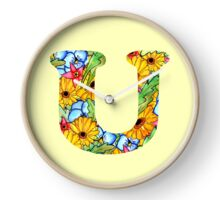 "Floral Letters ""U"" Clock"