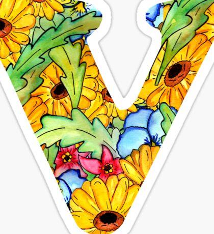 """Floral Letters """"V"""" Sticker"""