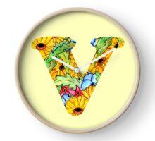 """Floral Letters """"V"""" Clock"""