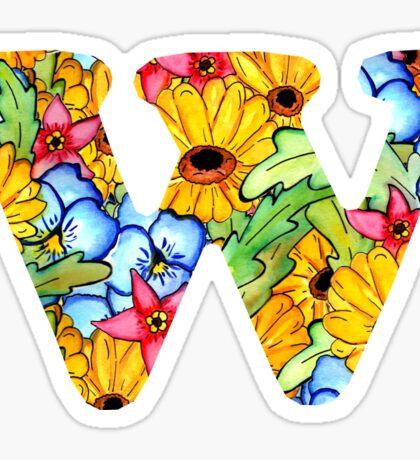 "Floral Letters ""W"" Sticker"
