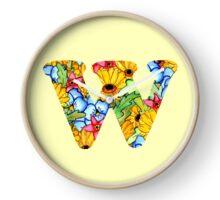 "Floral Letters ""W"" Clock"