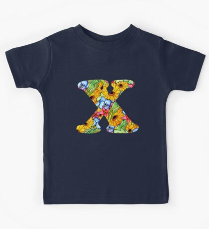 """Floral Letters """"X"""" Kids Tee"""