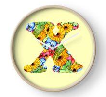 "Floral Letters ""X"" Clock"