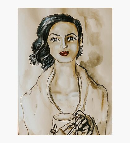 Strong Women Series: Modern Woman at the Coffee Shop (Watercolor) Photographic Print