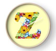 """Floral Letters """"Z"""" Clock"""