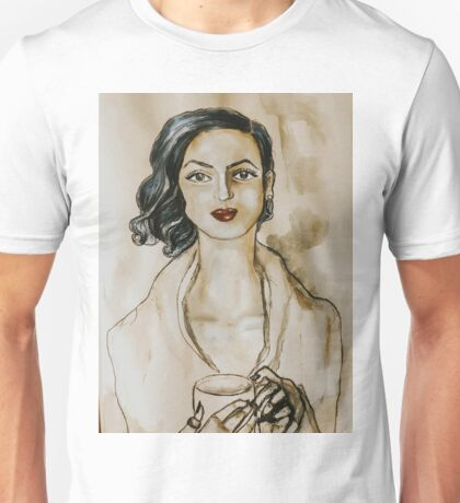 Strong Women Series: Modern Woman at the Coffee Shop (Watercolor) Unisex T-Shirt