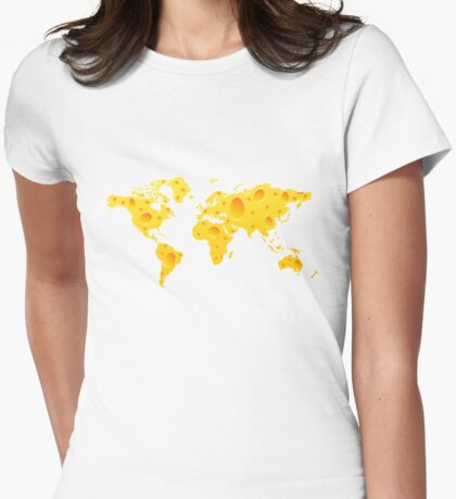 Cheese World Map Prins, T-Shirts,  iPone Case iPad Case / Samsung Galaxy Case / Mug  Womens Fitted T-Shirt