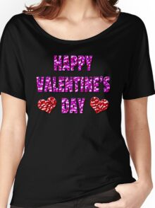 Happy Valentine's Day Metal Pink and Red Letters Women's Relaxed Fit T-Shirt