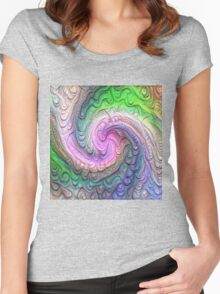 Frozen color Wave #DeepDream #Art Women's Fitted Scoop T-Shirt