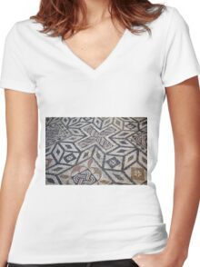 Mosaic antic decorative floor.  Women's Fitted V-Neck T-Shirt