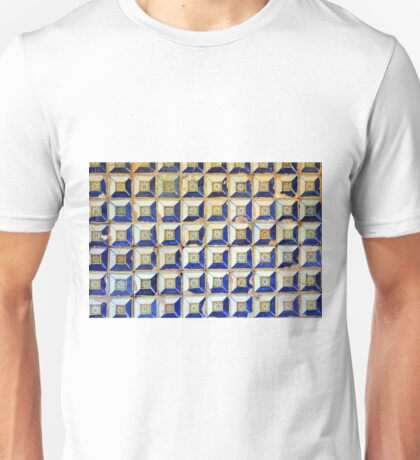 Ceramic decorative tiles with blue yellow colors and flower painting. Unisex T-Shirt
