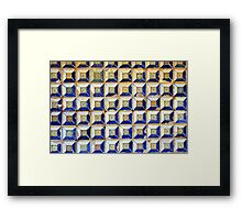 Ceramic decorative tiles with blue yellow colors and flower painting. Framed Print
