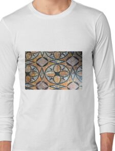 Ceramic decorative tiles with blue orange colors and flower. Long Sleeve T-Shirt