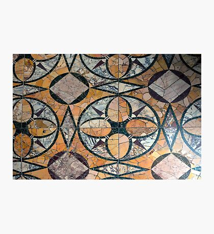 Ceramic decorative tiles with blue orange colors and flower. Photographic Print