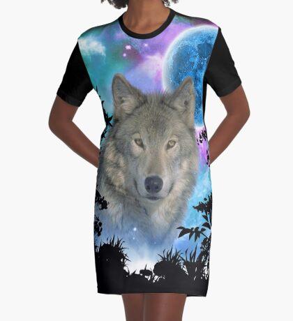 Grey Wolf MidNight Forest Graphic T-Shirt Dress