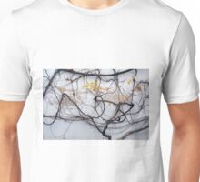Dry tree branches on a white wall Unisex T-Shirt