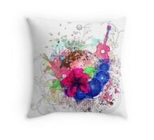 Grunge tropical patry poster Throw Pillow