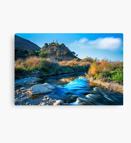 Bend in the Vinalopó and the Monastery Canvas Print