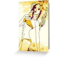 Halftone bikini girl 2 Greeting Card