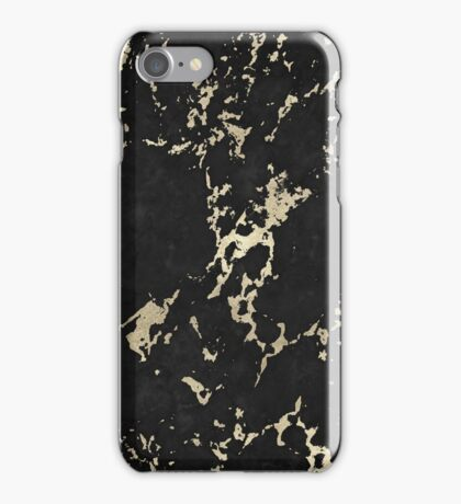 Schwarz-Goldener Marmor iPhone Case/Skin