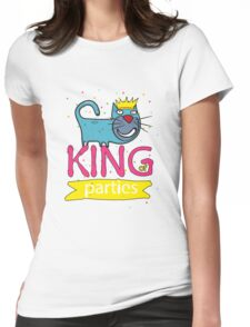 Cat - king of parties  Womens Fitted T-Shirt
