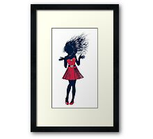 Halftone girl in red Framed Print
