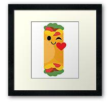 Burrito Emoji Flirt and Blow Kiss Framed Print