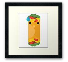 Burrito Emoji Speechless with Sweat Framed Print