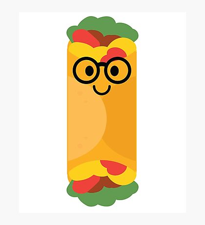 Burrito Emoji Nerd Noob Glasses Photographic Print