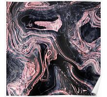 Stylish rose gold abstract marbleized design Poster