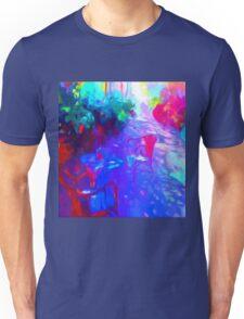 garden flowers patio chairs impressionist Unisex T-Shirt