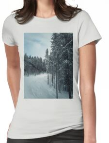 snowy fir trees Womens Fitted T-Shirt