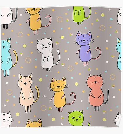 Seamless pattern with cartoon cats Poster