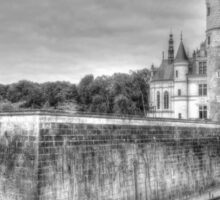 Chateau De Chenonceau, France (Black & White)  Sticker