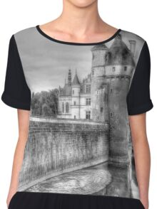 Chateau De Chenonceau, France (Black & White)  Chiffon Top