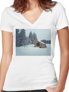 mount cabin Women's Fitted V-Neck T-Shirt