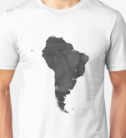 Black and white WATERCOLOR Handmade poster. Continent poster South America MAP, South America Map, Watercolor Painting. Watercolor poster Unisex T-Shirt