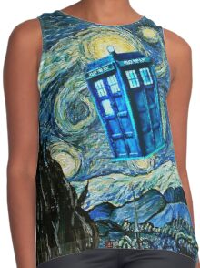 British Blue phone box painting Contrast Tank