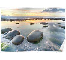 Glossy pebbles on Westward Ho! beach Poster