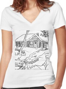 A Dragon's Winter Home in Vermont Women's Fitted V-Neck T-Shirt