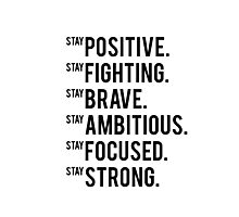 stay positive inspirational quote motivational quote gym decor fitness quote printable art typography print Photographic Print