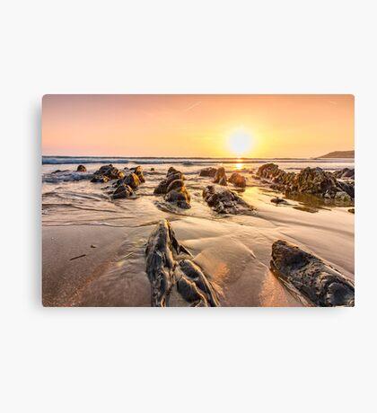 Golden sunset at Combesgate beach Canvas Print