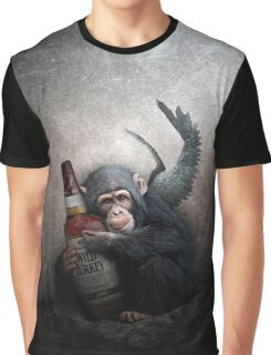 AlcoholicChimp with whiskey Graphic T-Shirt