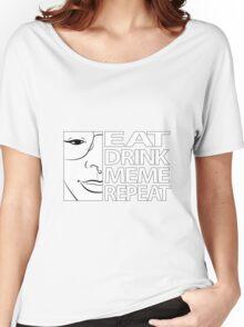 Brydie Eats Sleep Meme Repeat - B&W Borderless Women's Relaxed Fit T-Shirt