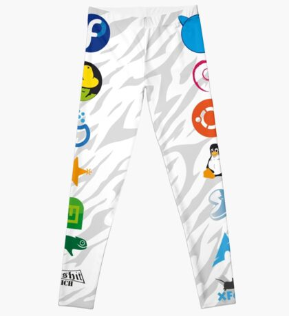 Diverent Linux Logos with Zebra Camo Muster Leggings
