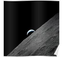 The crescent Earth rises above the lunar horizon. Poster