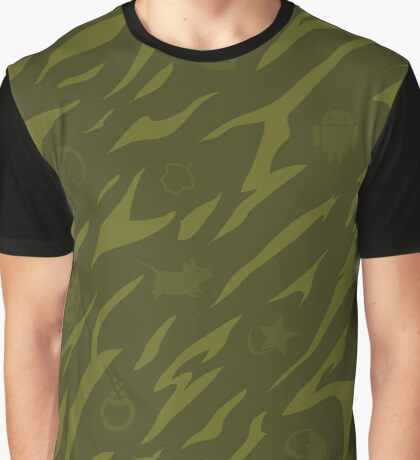 Linux Logos green Camouflage V1 Graphic T-Shirt